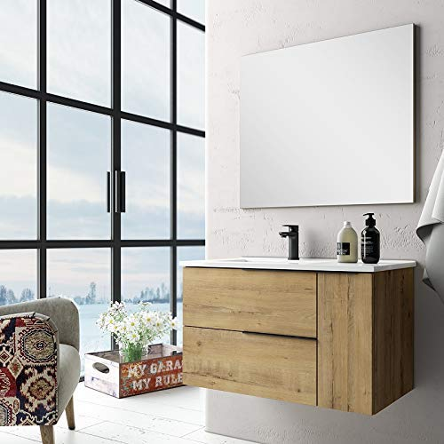 Aquareforma   Mueble de Baño con Lavabo y Espejo   Mueble Baño Modelo Eban 2 Cajones y 1 Puerta   Muebles de Baño   Diferentes Acabados Color   Varias Medidas (Roble, 80 cm)