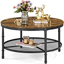YAHEETECH 2-Tier Rustic Round Coffee Table w/Iron Mesh Storage Shelf, Sturdy Metal Legs,Wooden Surface Top Industrial Sofa Furniture Table for Living Room Bedroom Kitchen Study Office Pantry