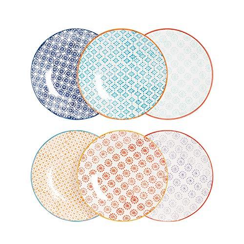 Nicola Spring Petites Assiettes/Assiettes à Dessert à Motifs - 180 mm (7 Pouces) - 6 modèles différents - Boîte de 6