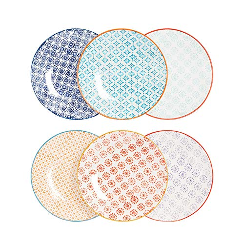 Nicola Spring 6 Piece Hand-Printed Side Plate Set - Japanese Style Porcelain Dessert Bread Plates - 6 Colours - 18cm