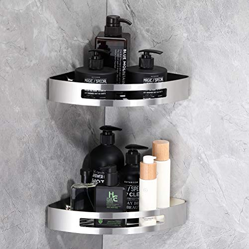 KAIBOR Edelstahl Duschregal Eckregal ohne Bohren und Bohren, 2 Stück Eckablage Duschkorb, Duschablagen Halter Dusche für Badezimmer, Design von Schnelle Wasserfiltration
