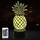 Lampeez Pineapple 3D Night Light with Remote Control, 16 Colors Chaning 4 Flashing Mode, Birthday Xmas Valentine's Day Gift Idea for Boys Girls