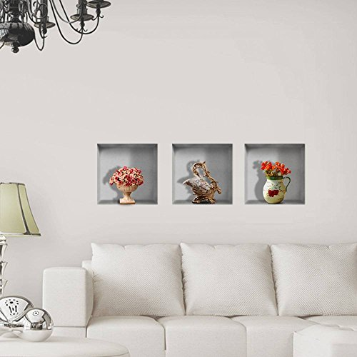 PhilMat Fleurs en vase mur 3d circonscription en treillis décalcomanies pag amovible art mural grille stickers décoration cadeau