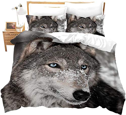 Yeesovs Microfiber Duvet Cover Set – -Winter Animal Wolf Landscape-Single (135 X 200 Cm) Bedding Sets Durable Fade Resistant Fabric-Include 1 Quilt Cover+2 Pillowcases-Soft Hypoallergenic, Easy Care