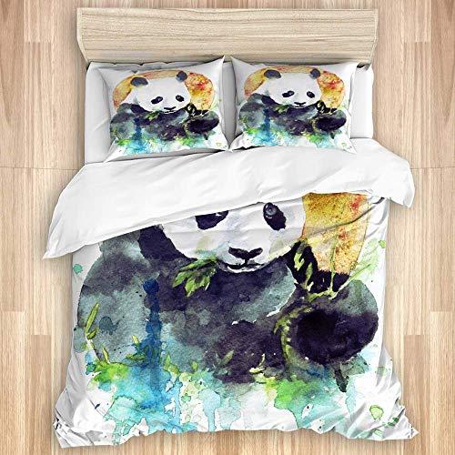 Juego de funda nórdica de 3 piezas, panda blanco y negro de acuarela comiendo bambú verde sobre un fondo naranja colorido redondo, juegos de fundas de edredón para dormitorio, colcha con cremallera co
