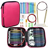 Looen 37pcs Aluminum Circular Knitting Needles Set with Ergonomic Handles,13 Size Intercha...