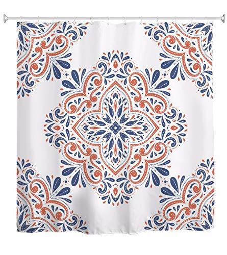 A.Monamour Duschvorhang Vintage Blau Und Orange Dekorative Paisley Traditionelle Ethnische Indische Boho Blumen Hintergr& Wasserdicht Polyester Duschvorhang Für Badezimmer 165x180cm Festgelegt