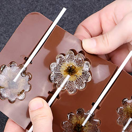 Moldes de Cake Pop de Silicona para Piruletas Haciendo - Forma de Flor e Espiral Molde de Silicone para Lollipop/Chocolate/Caramelo/Hielo - Viene con 100 Palitos de cartón - Moldes Color al Azar