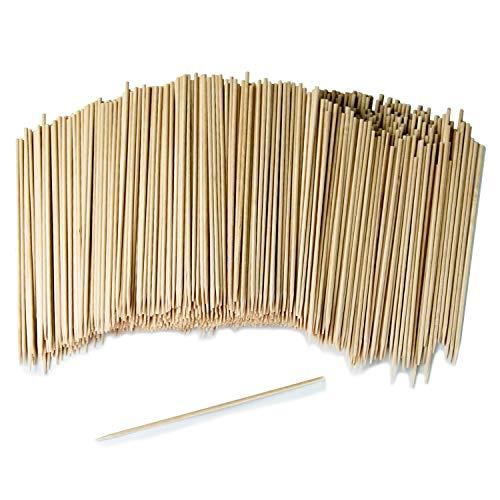 GoBeTree 1000 Brochetas de Madera de 20 cm y Ø 3 mm de diámetro. Pinchos y Palos de Madera bambú para Parrillas, barbacoas, Carnes, Verduras. Palos de Madera para Manualidades.