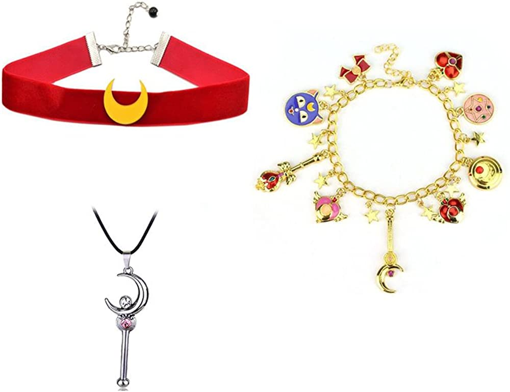 3Pack Sailor Moon Choker Necklace Charm Pendant with Cosplay Bracelet