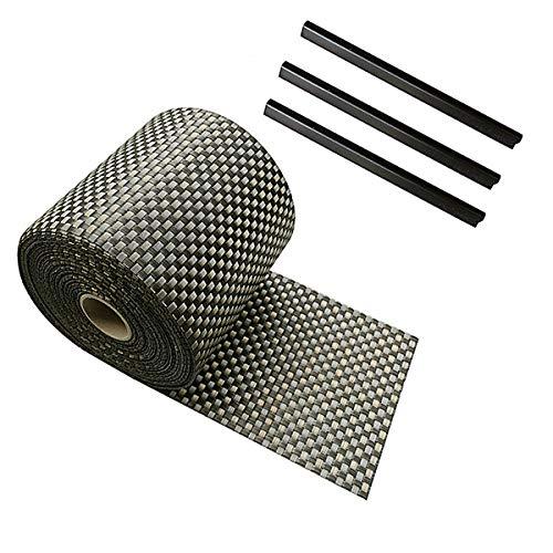 Ventanara Zaun Sichtschutzstreifen PVC Rattan geflochten für Stabmattenzaun Braun 19 cm x 25 m inklusive 25 Befestigungsclips