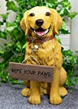 """Ebros Gift Lifelike Pet Pal Golden Retriever Dog Statue 13"""" Tall with Jingle Collar and Greeting Sign As Patio Welcome Entry Door Home Decor Labrador Retrievers Family Sculpture"""