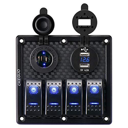 Panel de interruptor basculante de 4 impermeables con enchufe de cargador USB dual de 4,2A + voltímetro digital + encendedor de cigarrillo, interruptore de palanca para 12/24V camión barco marino