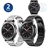 (2 Pack) I.P Stainless Steel Bands Compatible with Samsung Galaxy Watch 46mm Gear S3 Classic/Frontier Men XL Large, Heavy Duty Solid Metal Watch Band, 2X Screen Protector As Bonus