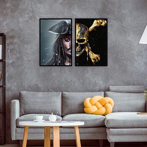 kit 2 quadros Capitão Jack Sparrow Piratas do Caribe Pirates of the Caribbean 40x60 (40x60, Moldura Preta)