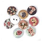 Botones artesanales de bricolaje hechos a mano 50 unids nueva flor impresa botón de madera redondo 2 agujeros 15mm botones de madera mixtos accesorios de costura para la decoración de ropa DIY Ropa ac