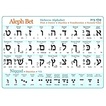 Hebrew Alphabet  Print & Cursive  UV Protected Study Sheet + Diacritics  A3 11.7x16.5in  Aleph Bet Alef Bet Chart with vowels cursive transliteration numeric value Aleph Bet Guide