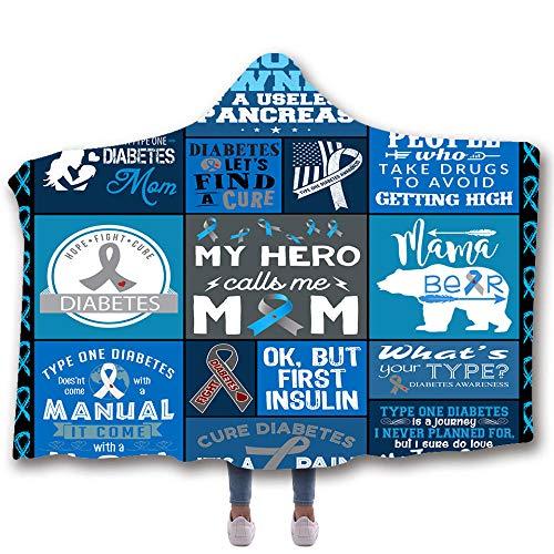 JNBGYAPS Manta con Capucha Tu Propio héroe vellón Suave Albornoz Unisex Impresa en 3D Siesta ponible Mantas de Viaje para Ropa de Dormir/Vacaciones/Casual150x200cm