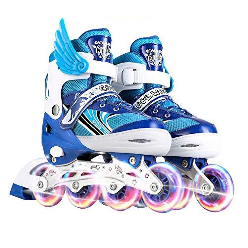 XUNMAIFBT Inline Skates Kinder Atmungsaktives Obermaterial zur Wärmeableitung, Rollschuhe Größenverstellbar Buntes PU-Blitzrad Herausnehmbarer Liner, Blue, s