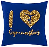 Hippowarehouse I love gymnastics - gold glitter Printed bedroom accessory cushion cover case