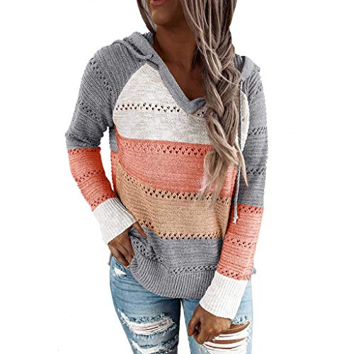 ANOKA Knitted Pullover Sweaters for Women Hollow Out Hoodies Orange XL