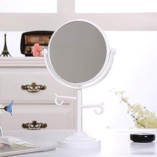 MXD Mirror Desktop Mirror Creative Double-Sided HD Vanity Mirror Princess Mirror Portable Mirror Triple Magnification Round Mirror (Color : White)