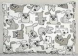 BALBINA Kinder Kopfkissenbezug Kissenhülle Baumwolle Muster (Tiere Grau, 40x60 cm)