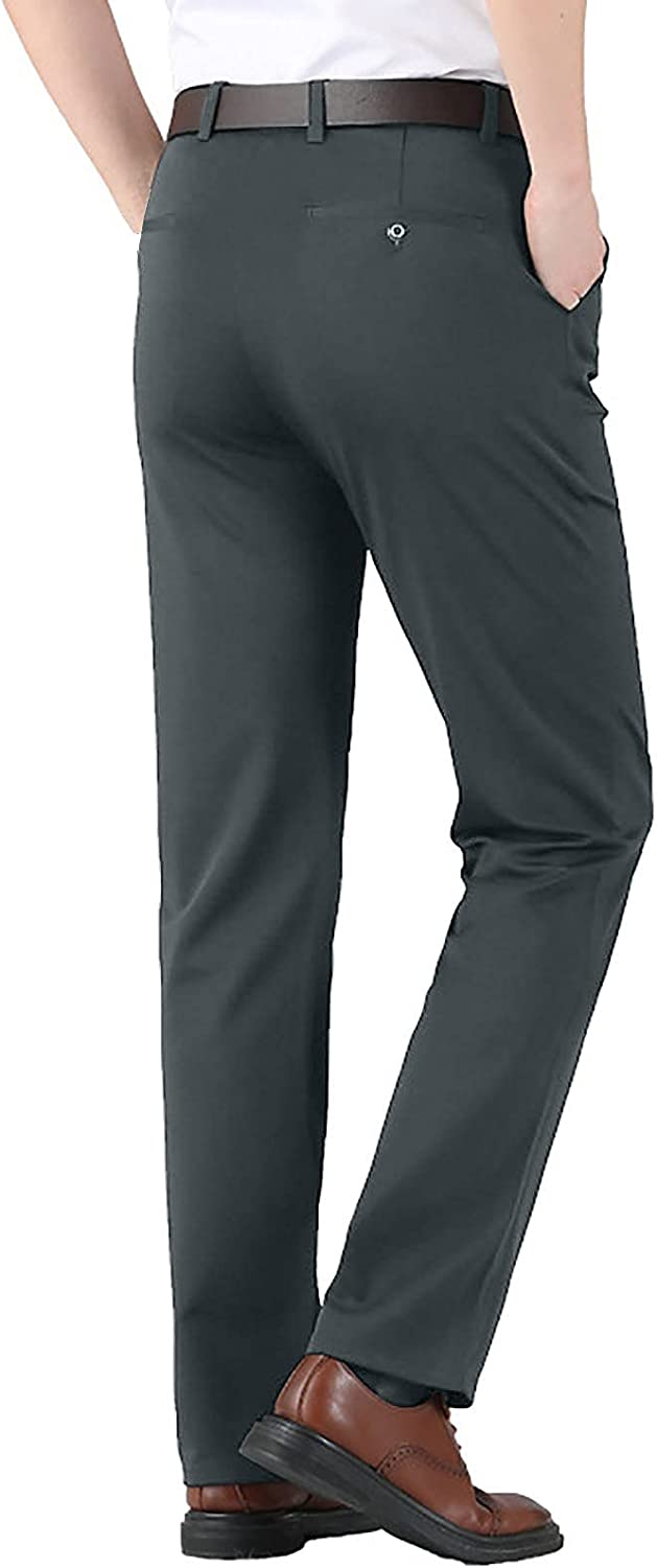 PHSHY Men's Business Office Work Dress Pants Casual Classic Fit Elastic Waist Comfy Straight Leg Flat Front Trousers