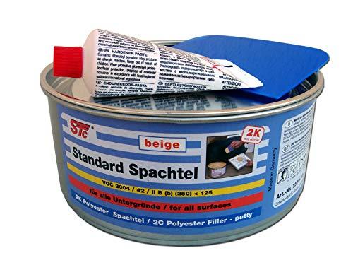 STC 2K kfz Spachtelmasse 1 kg Auto Standard Spachtel beige Karosserie Polyester Füllspachtel Dose inkl. Härter + Spachtelblatt ca. 10 x 7 cm (1 kg Dose)