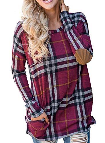 CORAFRITZ Sudadera de manga larga con estampado a cuadros para mujer, cuello redondo, túnica de punto causal