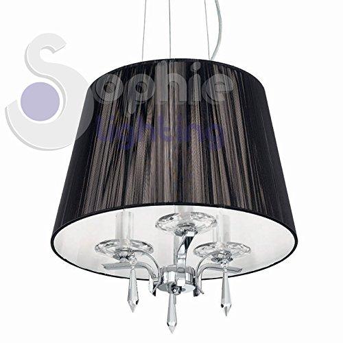 Sophie Lighting Suspension 3 lumières moderne design abat-jour noir acier chromé cristaux pendants ACCA SP3