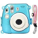 Katia Camera Case Bag Compatible for Fujifilm Instax Mini 9 Instant Camera, also for Fujifilm Instax Mini 8 Instant Film Camera with Strap - Shining Blue