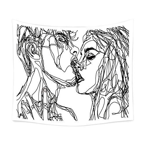 CAheadY Sexy Kiss Printed Strandtuch Tapisserie Wandkunst Hängende Decke Dekoration Bunte Wohnzimmer Wohnheim Dekor Dekorative Vorhang Tischdecke 130 * 150cm 1