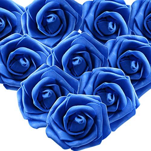 MEJOSER 50er Schaumrosen Künstliche Blumen Rosenköpfe Rosenblüten Foamrosen Brautstrauß DIY Party Hause Hochzeit Deko (Blau)