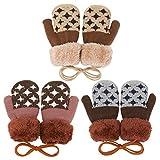 QKURT 3 Paar Kleinkinder-Fäustlinge, warme Winterhandschuhe für Kinder im Alter von 1–4 Jahren