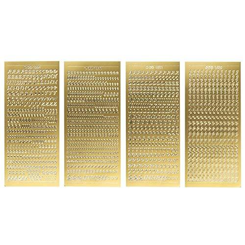 Ideen mit Herz Sticker-Set | 4 Stickerbogen | je 23 cm x 10 cm | Buchstaben & Zahlen | ABC | Groß- und Kleinbuchstaben mit Ziffern und Sonderzeichen | ideal für Kerzen & Grußkarten (Gold)