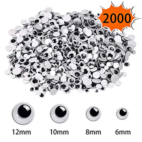 UPINS 2000 Pcs Black Wiggle Googly Eyes with Self-Adhesive,4 Sizes Mixed Packaging