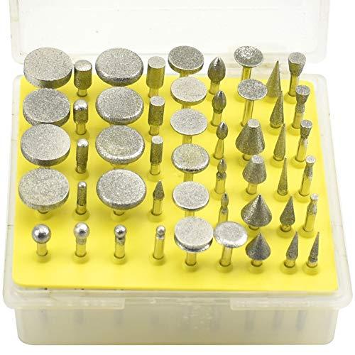 BIGP Diamant Fräser Set, 50 Stücke Diamant Frässtifte Set mit 3mm Schaft/Rotationswerkzeuge Zubehör für Dremel/DIY Gravur, Carving, Schleifen & Polieren Bits / 150 Körnung