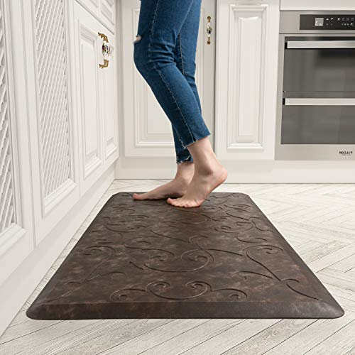 Floral Anti Fatigue Kitchen Mats Non-slip Comfort Rugs In Front Of Sink Ergonomic Floor Pad Cushioned Standing Desk Mat