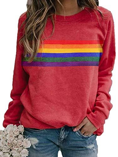 YNALIY Damen Regenbogen Sweatshirts Streifen Patchwork Langarm Pullover Oberteile Für Teenager Mädchen