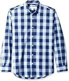 Amazon Essentials – Camisa informal de popelín de manga larga de corte recto estándar para hombre, Blue Buffalo Check, US XXL (EU XXXL - 4XL)