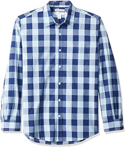 Amazon Essentials Herrenhemd, regulärer Schnitt, langärmlig, Popeline, Blue Buffalo Check, Large
