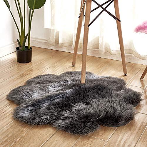 Alfombra de interior súper suave y gruesa para dormitorio, sala de estar, decoración de niños, color gris, 90 cm