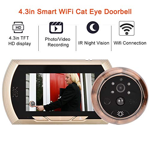 Intelligente WiFi-deurzichtcamera, 4,3-inch TFT HD-scherm WiFi-kijkgaatje camera, digitale deurbel-kijker met IR-nachtzicht + 150 ° groothoeklens + PIR-sensor voor het detecteren van mensen + APP-St