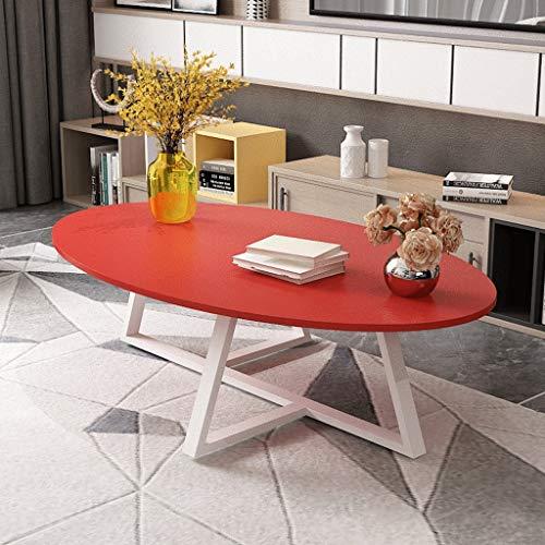 XWF Mesas auxiliares para Sala de Estar Moderna Simple Marco de Acero Grueso Mesa de café Mesa Lateral Mesa Ovalada Artificial Junta encimera Fin de la Sala de Estar Sofá Mesas de Noche (Color : Red)