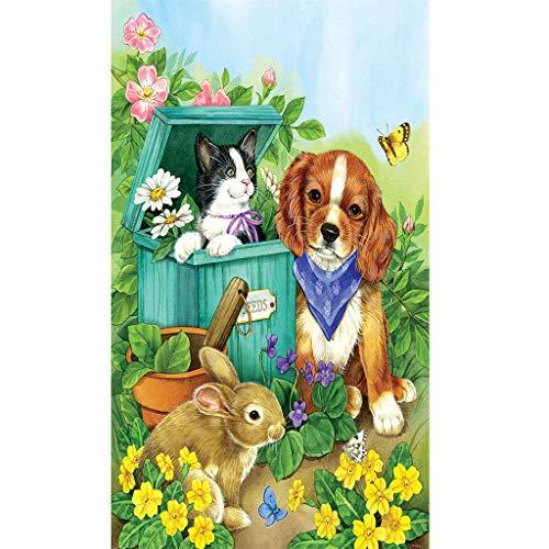 Kit de pintura de diamantes 5D,cristal painting kit cuadro de punto de cruz, diseño de conejo y gato, para adultos principiantes arte para decoración de pared, 30 x 40 cm