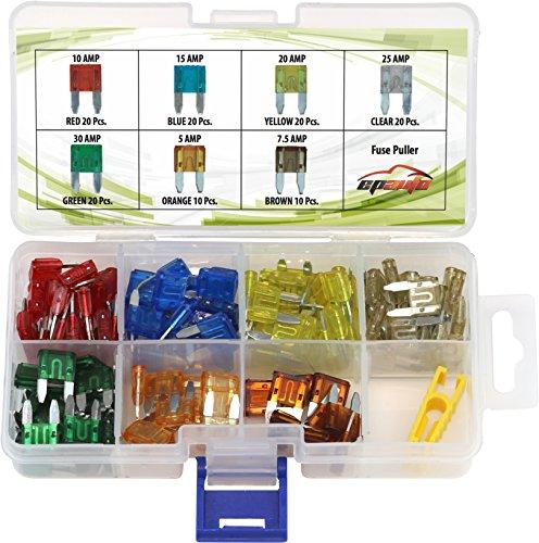 120 Pieces - EPAuto Assorted Car Truck Mini Blade Fuse Set (5 / 7.5 / 10 / 15 / 20 / 25 / 30 AMP)