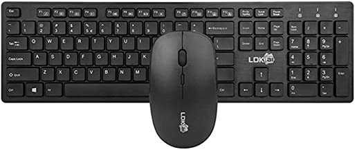 Wireless Keyboard Mouse Combo, Whisper-Quiet, Mouse USB Wireless Keyboard Mouse Set, Black