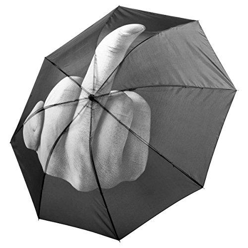 Regenschirm mit Mittelfinger Print - Stinkefinger Taschenschirm 100cm - Das Original!