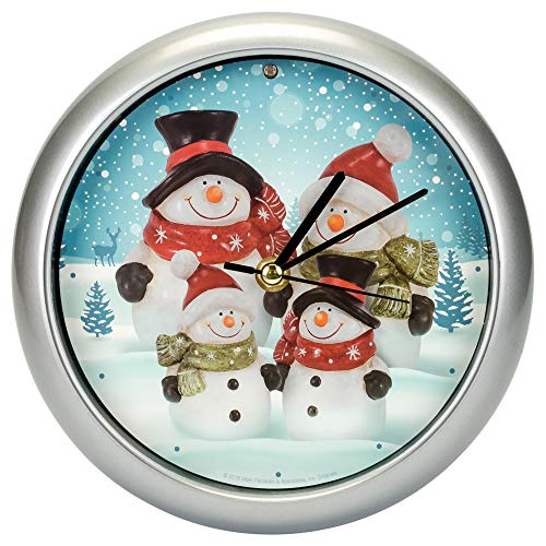 Snowman Family Winter Wonderland Round Silvertone Framed 8 Inch Musical Wall Clock